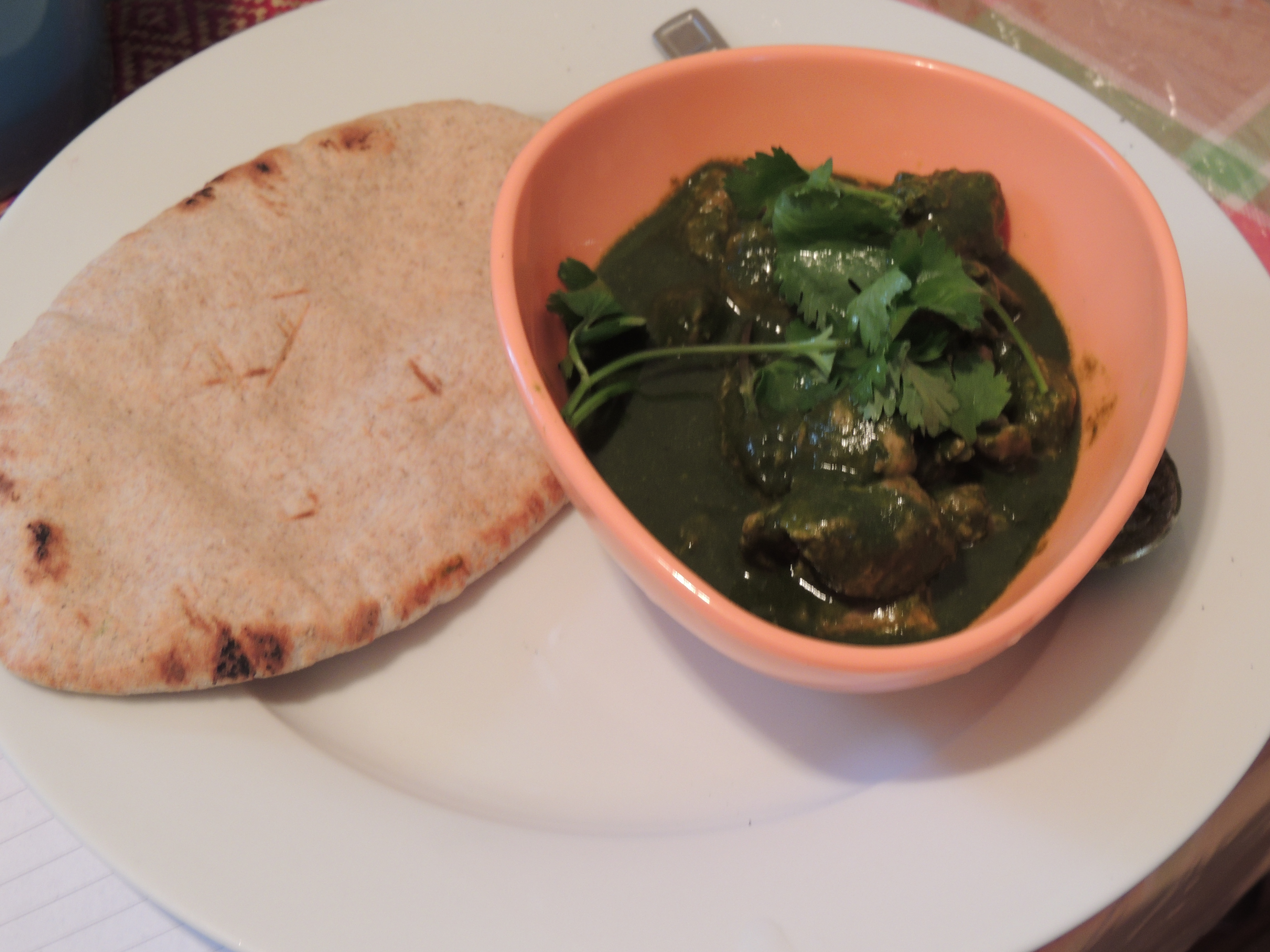 Turkey in green sauce with wholemeal pitta bread