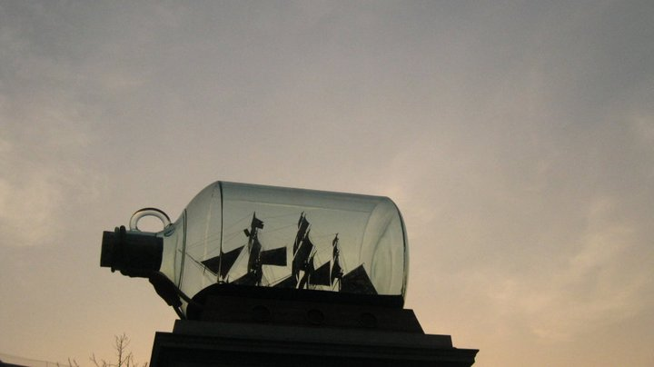Nelson's ship in a bottle, Trafalgar Square, London 2011