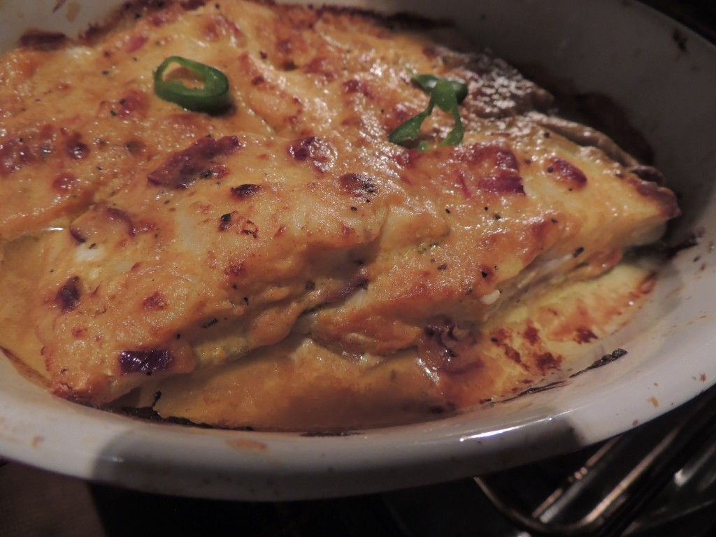 The baked fish in mustard sauce